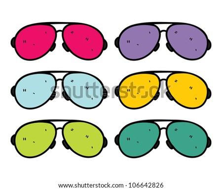 retro sun glasses in doodle style - stock vector