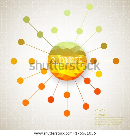Retro sun with rays symbol hipster background made of triangles. Retro background with rays pattern.Label design. Square composition with geometric shapes.Weather backdrop. Summer template. - stock vector