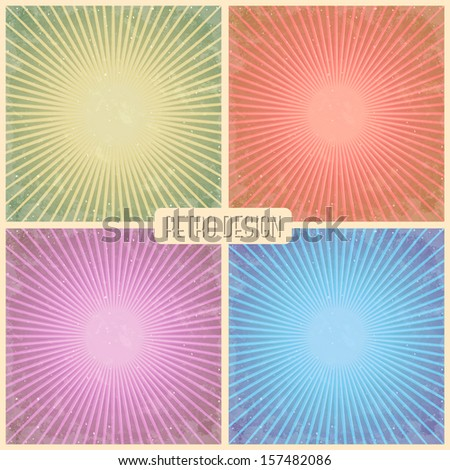 Retro sunburst pattern. Vectro Template  - stock vector