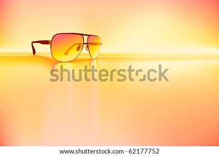 Retro sunglasses rendered using gradient meshes and regular gradients. - stock vector