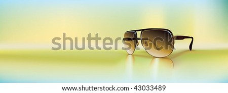 Retro sunglasses rendered using gradient meshes and regular gradients. Cool diffused light ambiance with inviting greens and blue shades. - stock vector