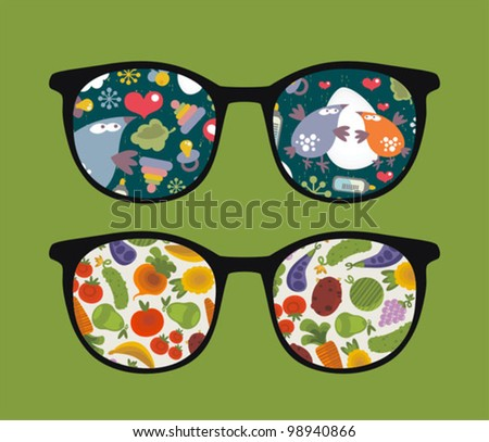 Retro sunglasses with birds and plants reflection in it. Vector illustration of accessory - isolated eyeglasses.
