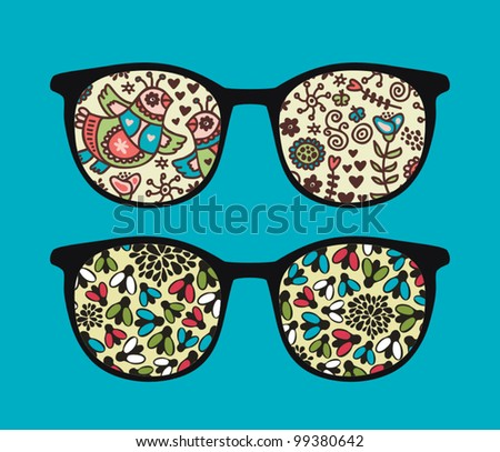 Retro sunglasses with flies and birds reflection in it. Vector illustration of accessory - eyeglasses isolated.