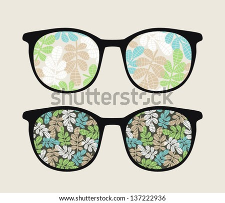 Retro sunglasses with floral reflection in it. Vector illustration of accessory - eyeglasses isolated.