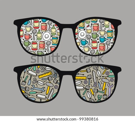 Retro sunglasses with funny dishes and tools reflection in it. Vector illustration of accessory - eyeglasses isolated. - stock vector