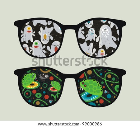 Retro sunglasses with ghosts and monsters reflection in it. Vector illustration of accessory - isolated eyeglasses.