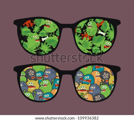Retro sunglasses with many monsters reflection in it. Vector illustration of accessory - eyeglasses isolated. - stock vector