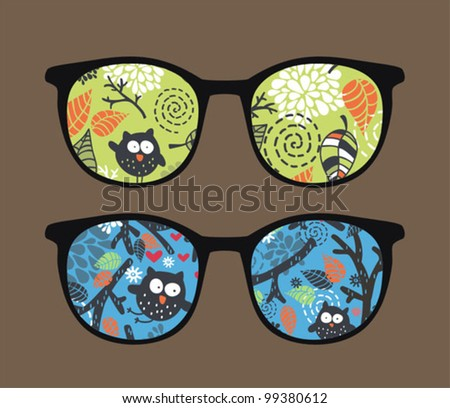 Retro sunglasses with owl on the tree reflection in it. Vector illustration of accessory - eyeglasses isolated.