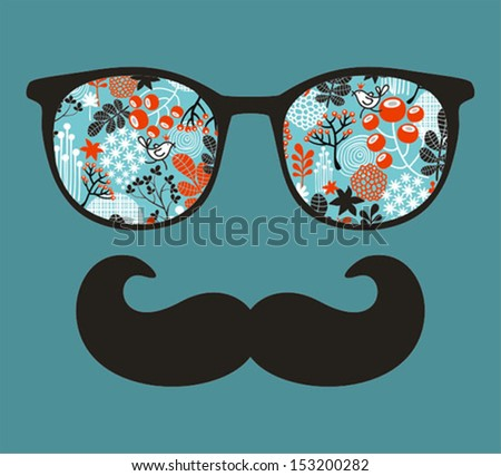 Retro sunglasses with reflection for hipster. Vector illustration of accessory - eyeglasses isolated. Best print for your t-shirt. - stock vector