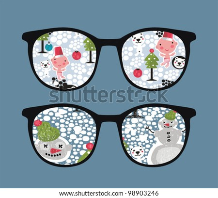 Retro sunglasses with snow in it. Vector illustration of accessory - isolated eyeglasses.