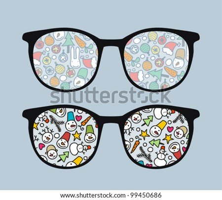 Retro sunglasses with snowman reflection in it. Vector illustration of accessory - eyeglasses isolated.