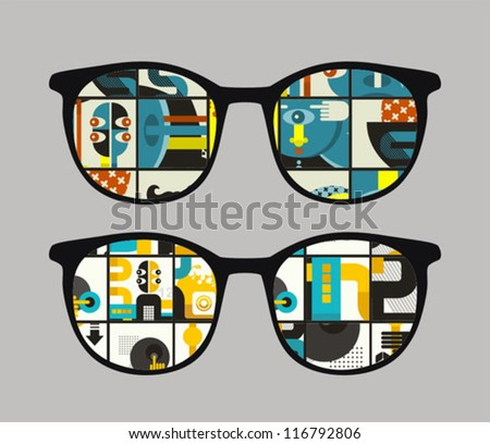 Retro sunglasses with strange  reflection in it. Vector illustration of accessory - eyeglasses isolated.