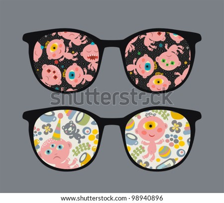 Retro sunglasses with ugly child reflection in it. Vector illustration of accessory - isolated eyeglasses.