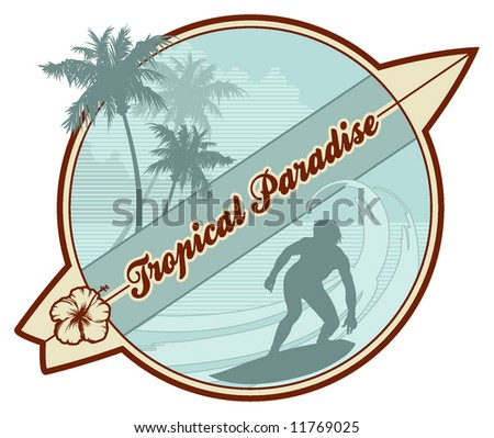retro surf emblem with surfer's silhouette, palmtrees, abstract waves and copy-space - stock vector