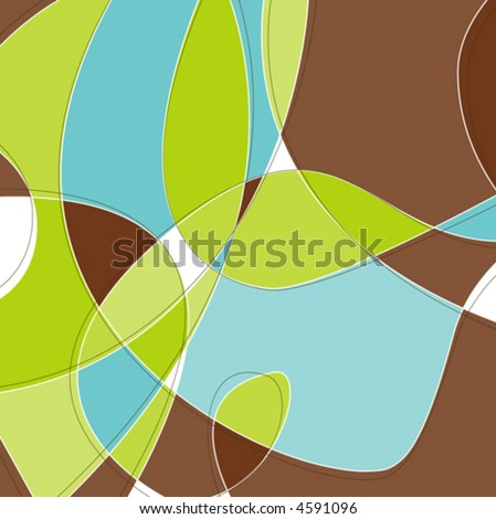 Retro Swirl Loopy Background of stylish, aqua blue green and brown shapes. Easy-edit layered vector file--No transparencies or strokes! - stock vector