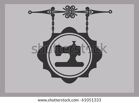 retro tailor sign of sewing machine, vector illustration - stock vector