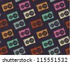 Retro tape cassette seamless pattern. EPS10 vector image. Scratches and grungy elements on a separate layer. - stock photo