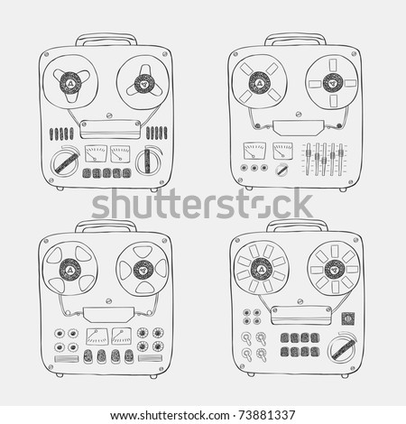 retro tape recorder set - stock vector
