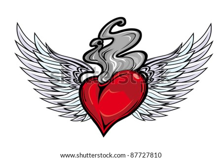 Retro tattoo with heart and fire flame for religious design. Rasterized version also available in gallery - stock vector