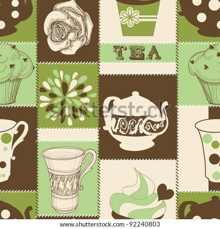 Retro tea and cupcakes seamless pattern - stock vector