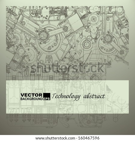 Retro technical background, drawing the internal combustion engine - stock vector
