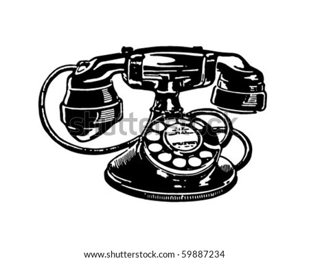 Retro Telephone 2 - Clip Art - stock vector
