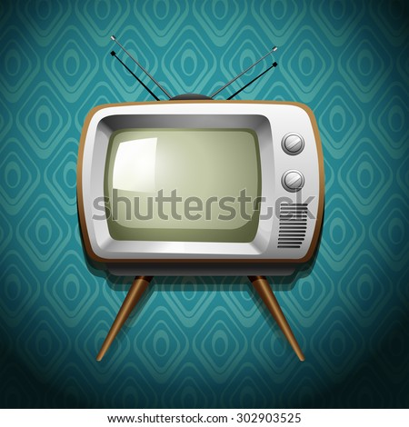 Retro Television On Wallpaper Illustration