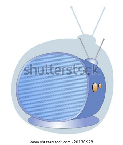Retro television set with scan lines and shadow - stock vector