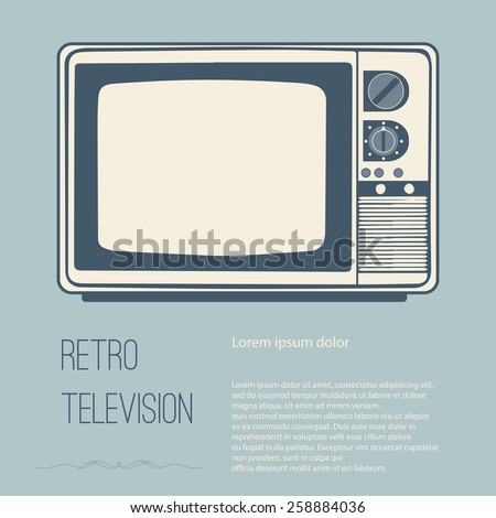 Retro television (tv) with Space for text editing vector design - stock vector