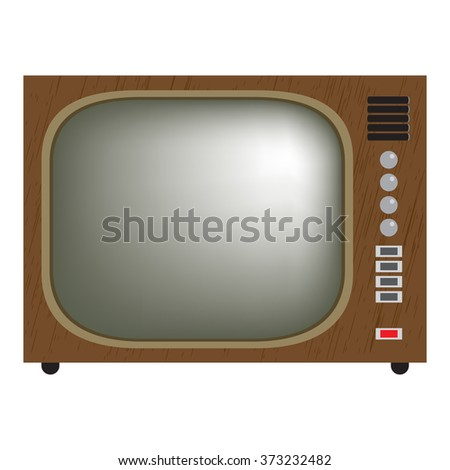 retro television. vector illustration of vintage tv set. isolated on white. gradient mesh used.