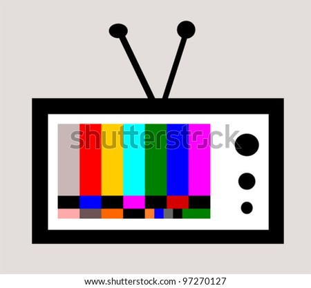 retro television with colorful test pattern - stock vector