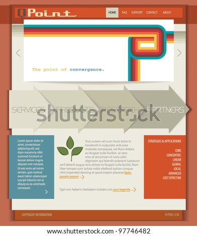 Retro Template/Layout for Web Sites, Brochures and Advertisement - layered template page with retro lines, 3D arrows for navigation and paper notes, in vintage retro colors - stock vector