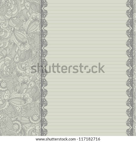 Retro template with floral background - stock vector