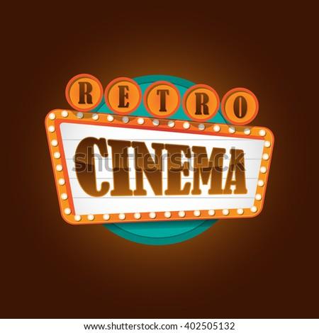 Retro theater cinema sign banner - stock vector
