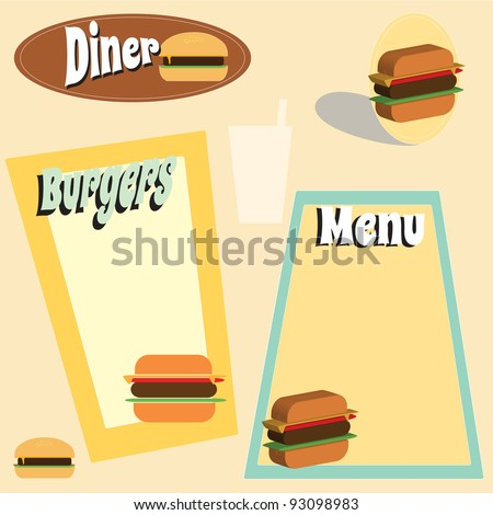 Retro themed diner and burger menu graphics - stock vector