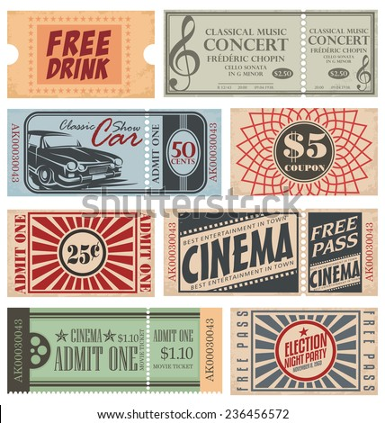 Retro Tickets and Coupons - stock vector