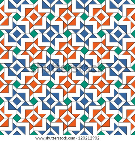 Retro Tiles Pattern Inspired by Islamic Geometric Art - stock vector