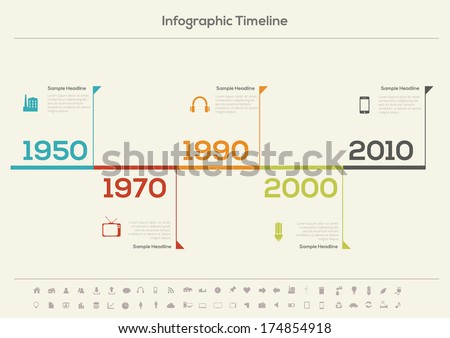 Retro Timeline Infographic. With set of Icons. Vector design template.