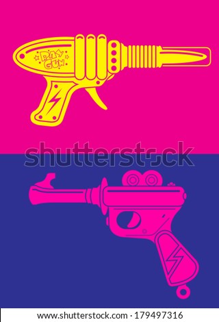 Retro Tin Toy Ray Gun Pop Art Poster - stock vector