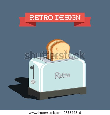 retro toaster with bread - stock vector