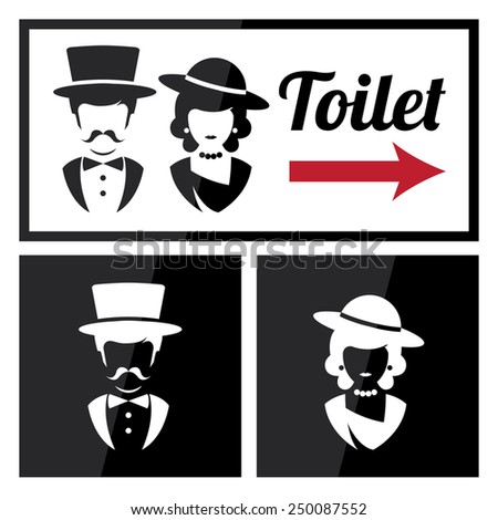 Retro Toilet and Restroom Sign - stock vector