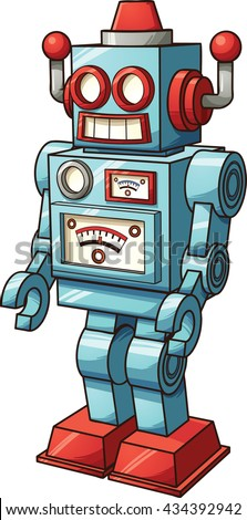 Retro toy robot. Vector clip art illustration with simple gradients. All in a single layer.  - stock vector
