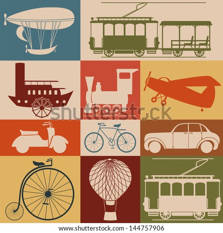 Retro transport icons. - stock vector