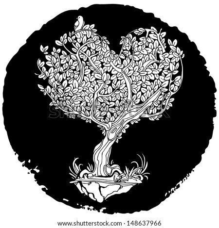 Retro tree tattoo crown in the shape of heart - stock vector