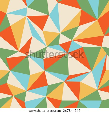 Retro Triangle seamless colorful pattern - stock vector