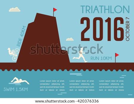 Retro triathlon competition  poster. Championship poster design - stock vector