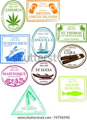 Retro Tropical and Exotic Caribbean Beach Island Passport Stamps Set Vector Illustration - stock vector