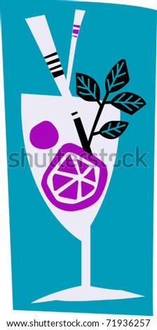Retro Tropical Cocktail Drink Vector Illustration - stock vector