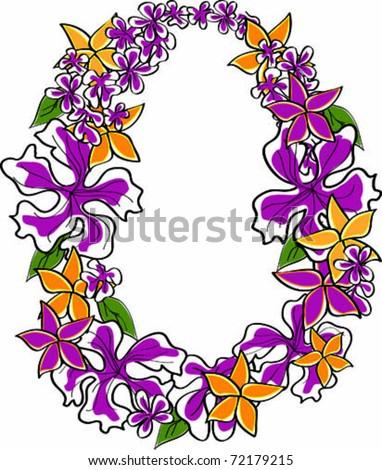 Retro Tropical Flower Lei Vector Illustration - stock vector
