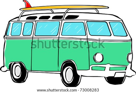 Retro Tropical Happy Hippie Micro Surfboard Bus Van Vector Illustration - stock vector